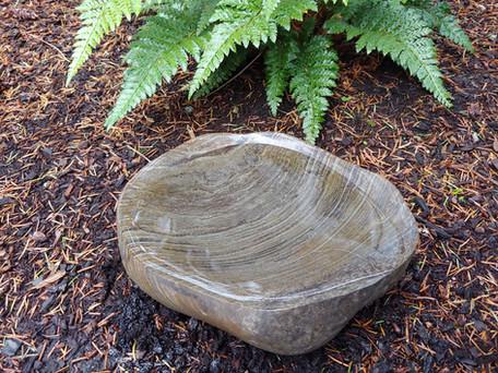 Banded Stone Bird Bath