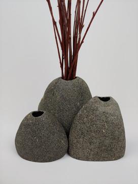 Trio of Oregon Beach Stone Vases