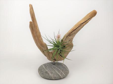 Driftwood and Beach Stone Sculpture