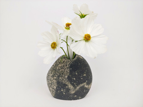 Black and White Granite Vase