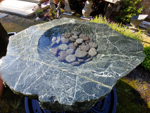 Large Stone Fountain with Polished Top