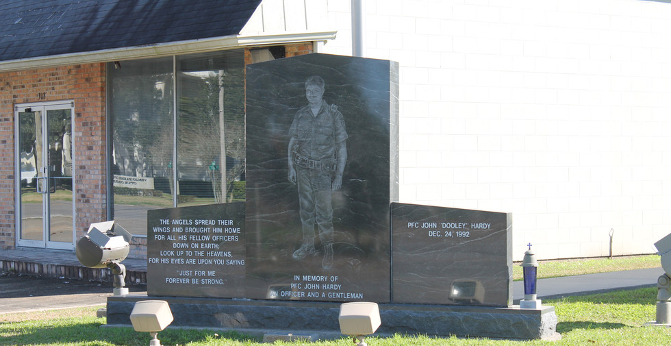 Memorial outside of the police department.