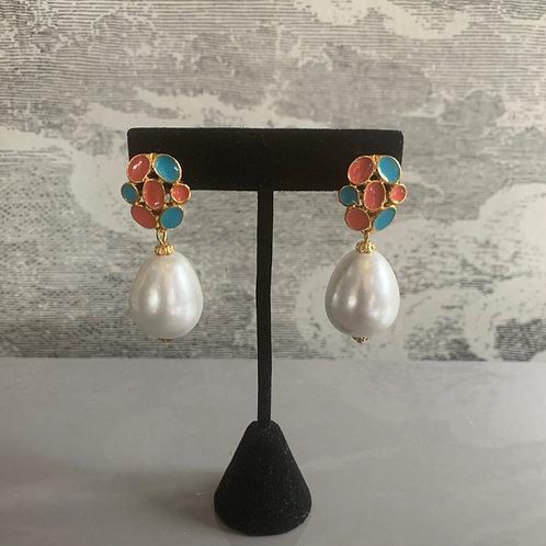 Ohrring Paar - Perle weiß - Orange und Türkis mit Gold