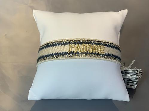 Stoff-Armband-verstellbar CREME-SCHWARZ-GOLD