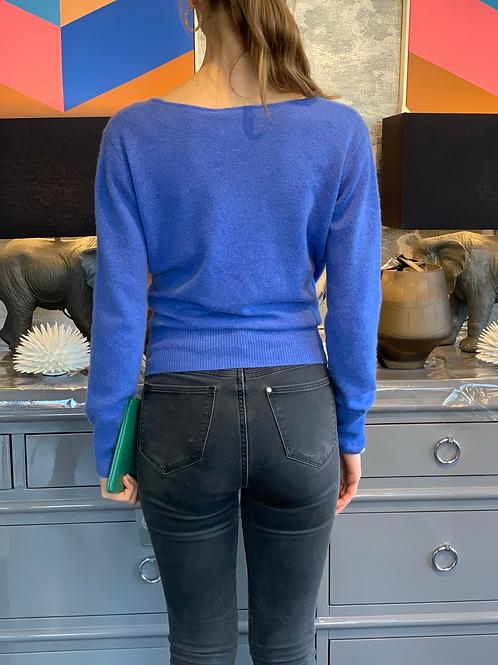 Cashmere Pullover - Blau - Wickeloptik