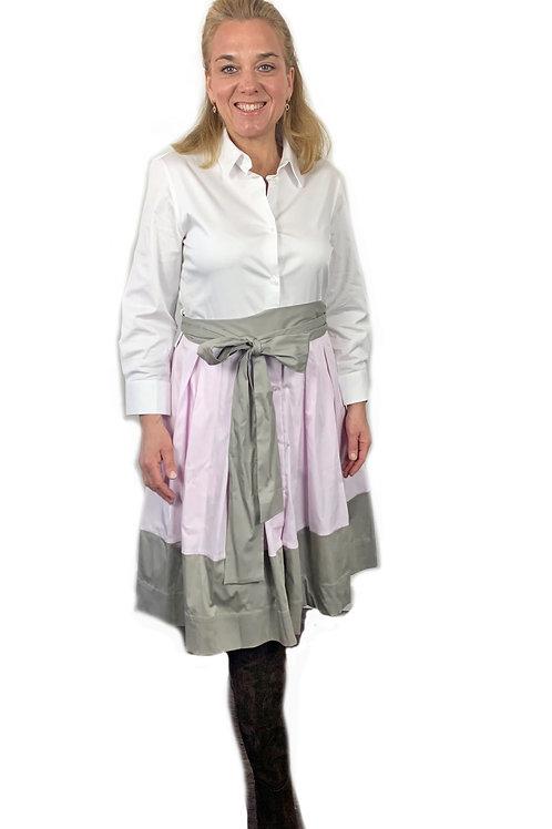 Soluzione Hemdblusen Kleid  - Knielang - Weiß mit Rosa und Schlamm