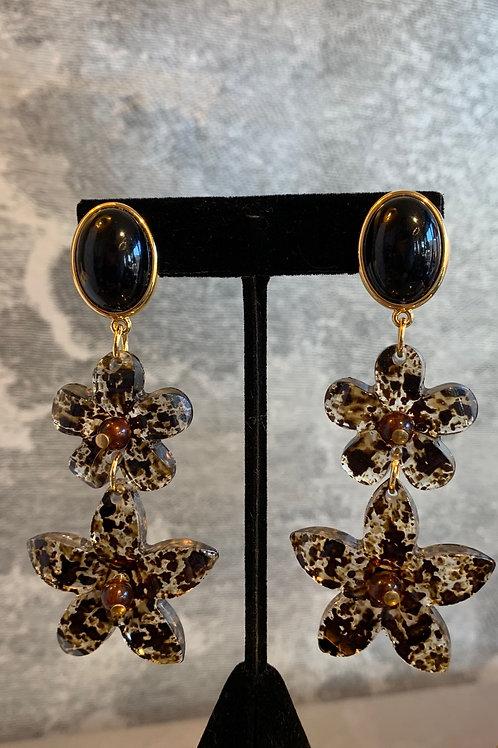 Ohrring Paar - Blumen- Brauntöne mit Schwarz