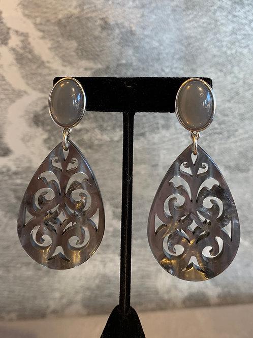 Ohrring Paar - Ornament - Grauntöne mit Silber