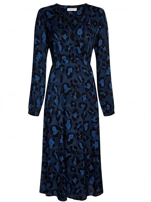 Fabienne Chapot - Kleid CLAIRE Mittellang - Leo Schwarz mit Blau