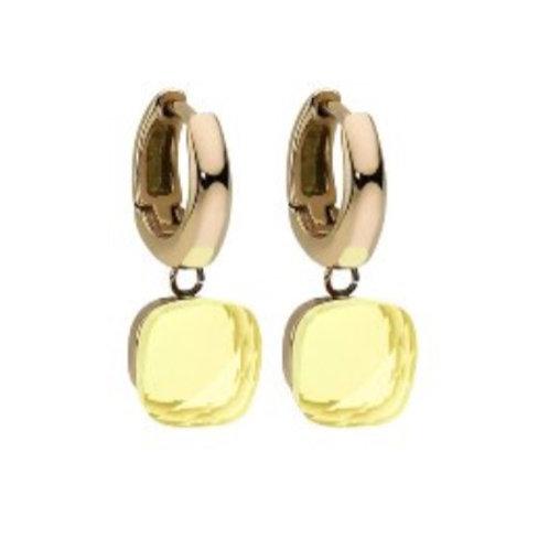 Ohrring Paar  - Creole Gelbgold - Stein Light Topas