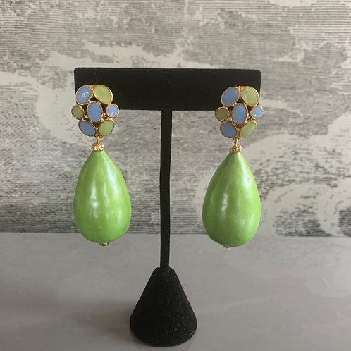 Ohrring Paar - Große Perle Grün - Grün und Türkis mit Gold