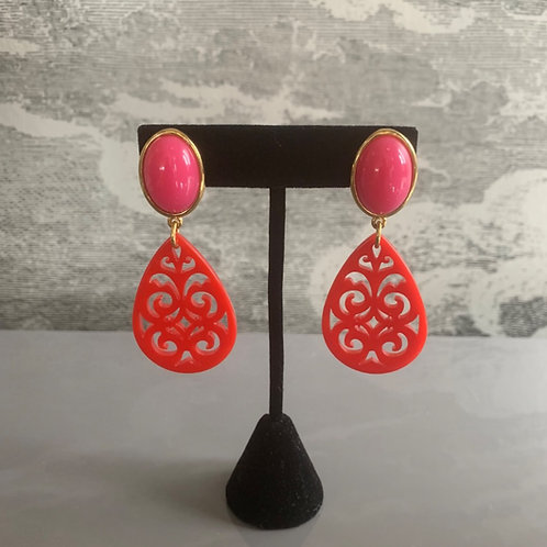 Ohrring Paar - Ornament - Pink und Rot mit Gold