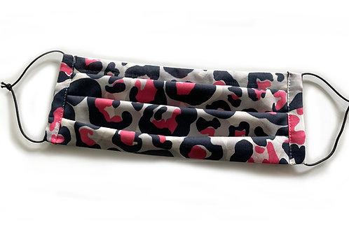 2 Leo Soffmasken - leichter Designerstoff - Pink mit Schwarz und Grautöne