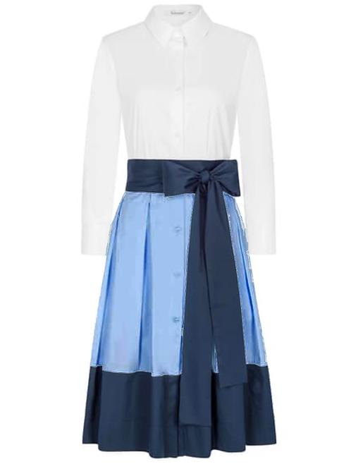 Soluzione Hemdblusen Kleid  - Knielang - Weiß mit Hellblau und Marine