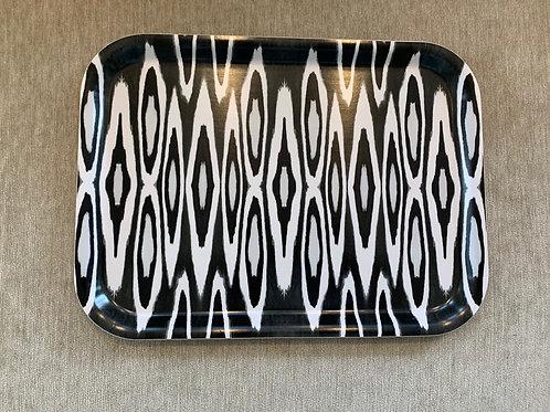 Rechteckiges Tablett - Ikat Black and White - Design by Mariska Meyers