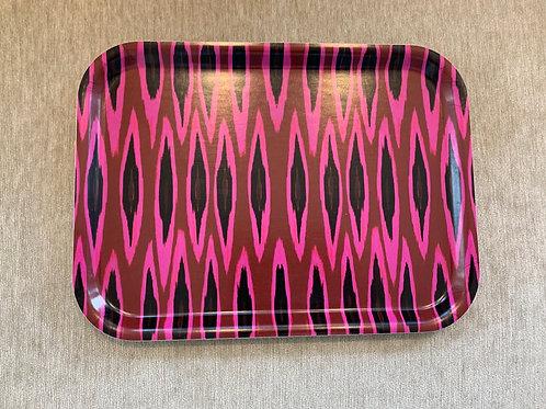 Rechteckiges Tablett - Ikat Raspberry - Design by Mariska Meyers