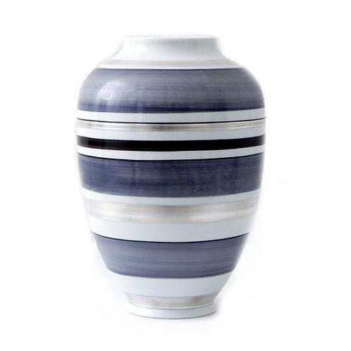 Vase - Reichenbach Porzellan - Grau mit Silber