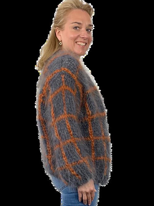 Les Tricots D'O! Strickjacke - Mohair - Grau mit Orange Karo