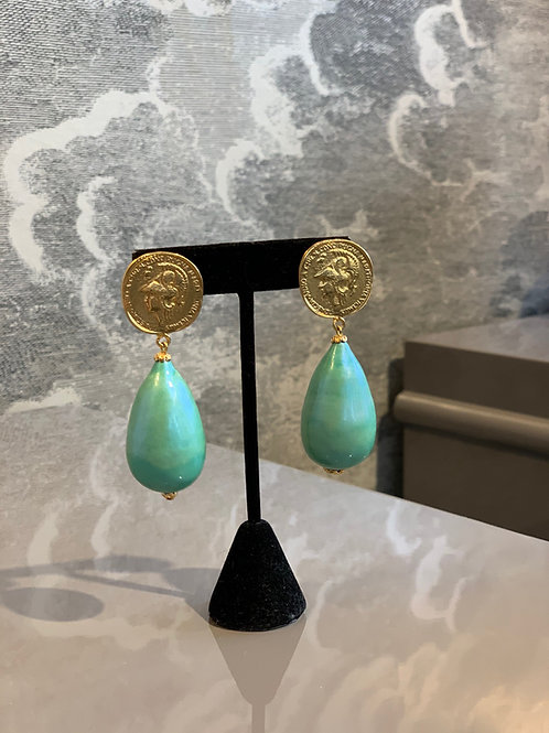 Ohrring Paar  - Münze Gold mit Tropfen Türkis