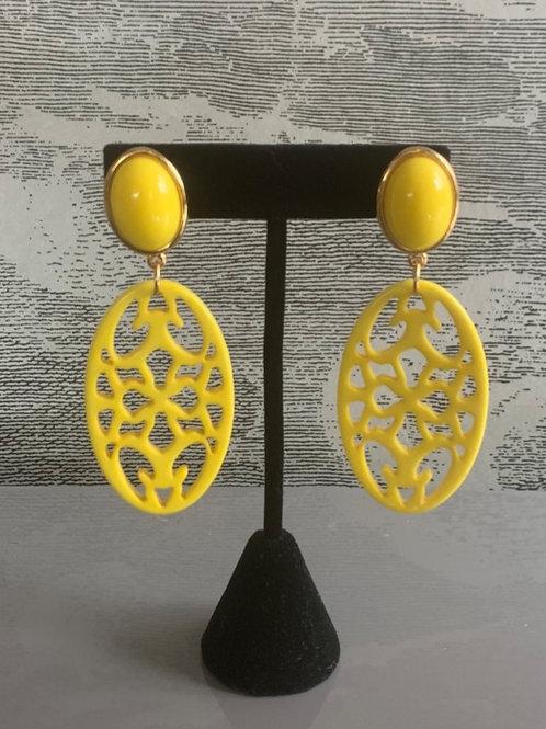 Ohrring Paar - Ornament - Gelb mit Gold