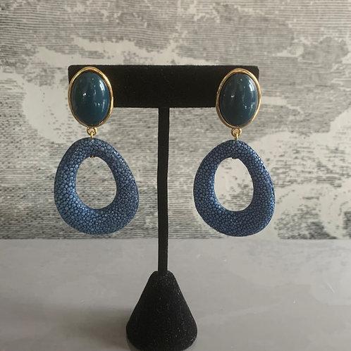 Ohrring Paar - Rochenlook - Blau mit Gold