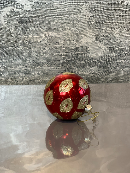 Kugel - Red Lips - Weihnachtsanhänger – Gold