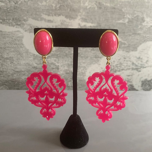 Ohrring Paar - Ornament - Pink mit Gold