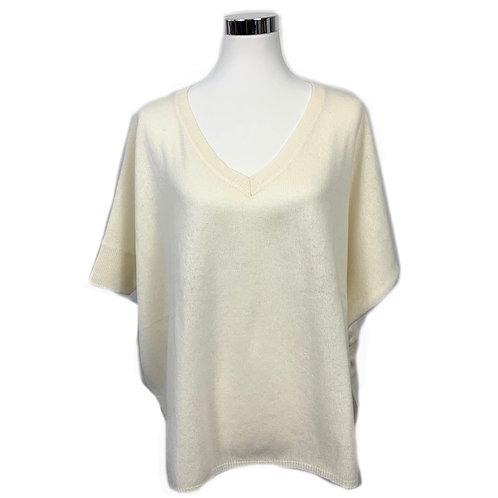 Absolut Cashmere Pullover 3/4 Arm - Wollweiß mit Neonpink