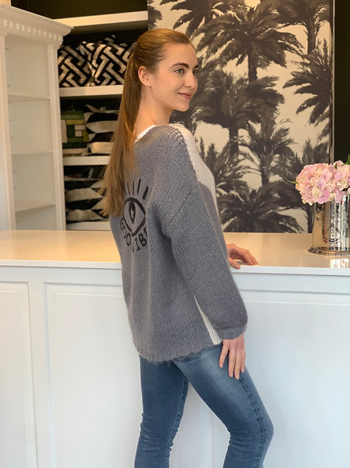 Me369 - Pullover - Brooklyn Good Vibes bestickter Pullover, Gr. XS/S