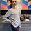 Thumbnail: Cashmere Pullover - Grau mit Pink am Saum