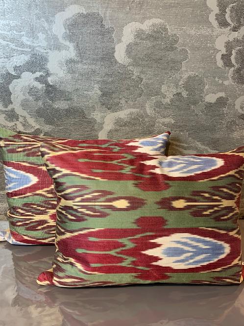 2er SET - Seidenkissen - Muster Rot-Grün- Les Ottomans