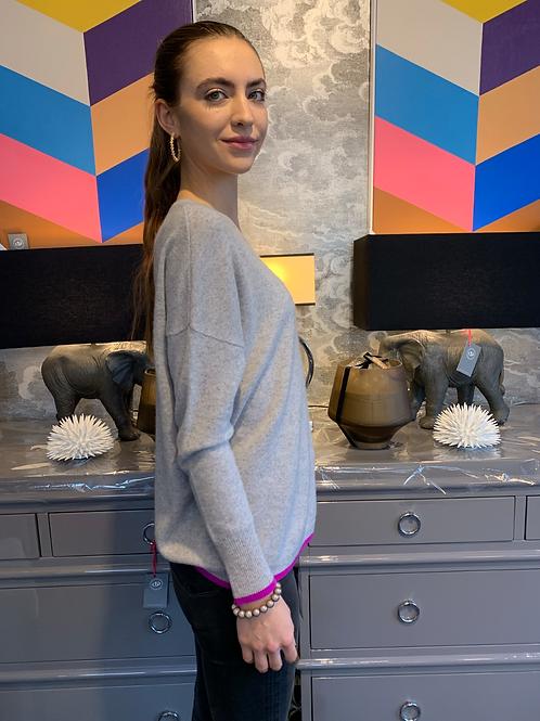 Cashmere Pullover - Grau mit Pink am Saum
