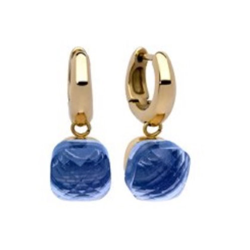 Ohrring Paar  - Creole Gelbgold - Stein Light Sapphire