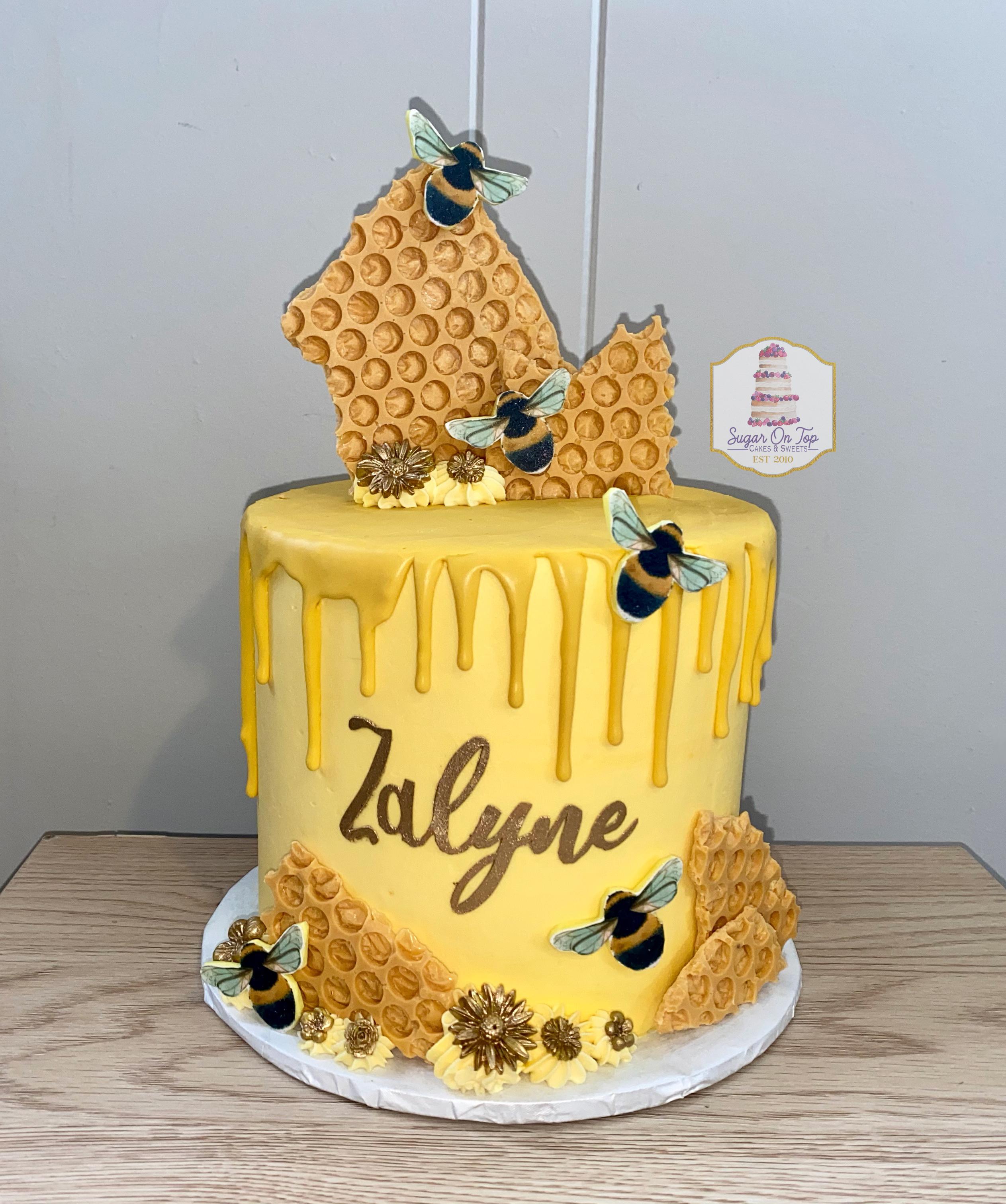 bee drip cake