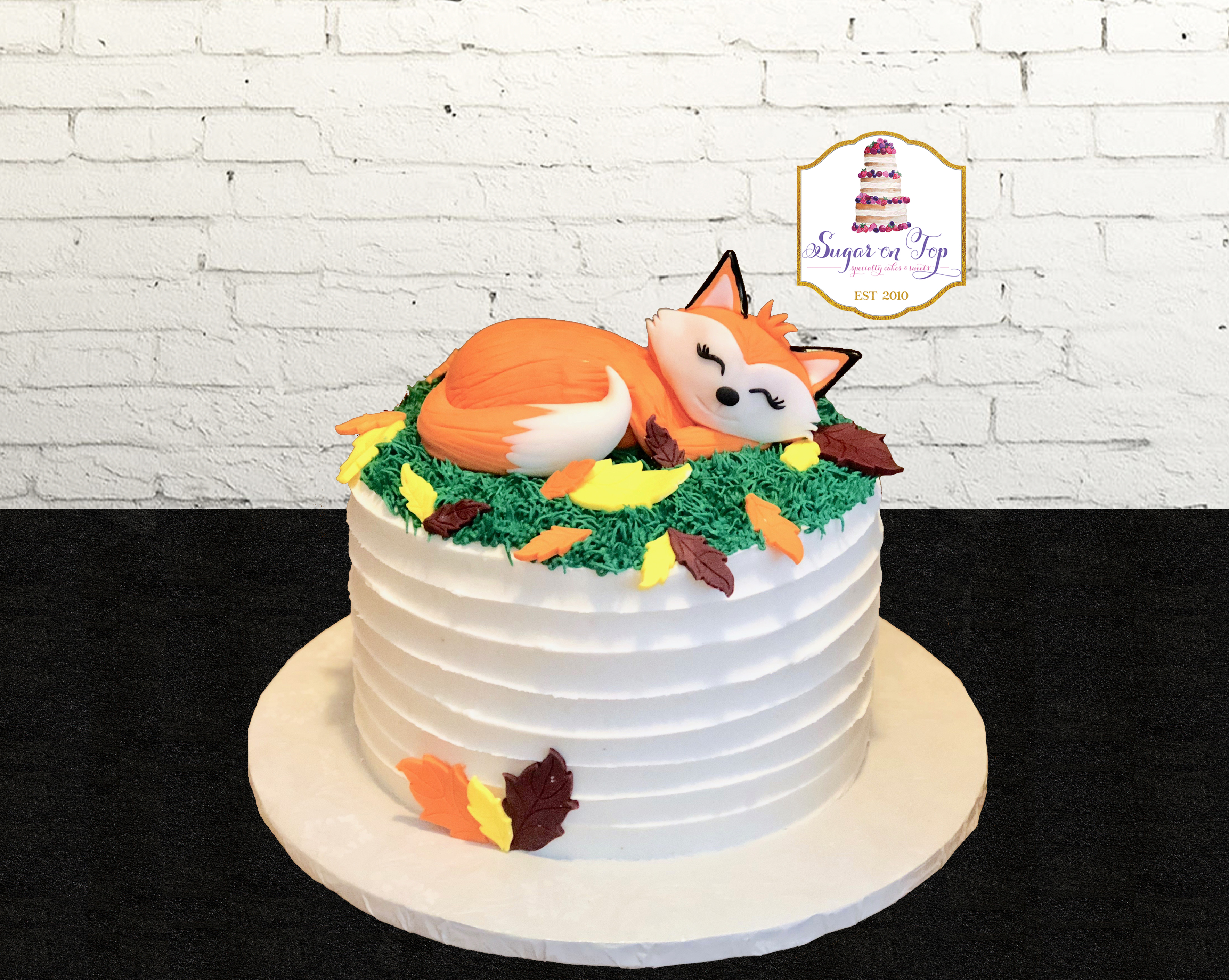fox sleeping baby shower cake