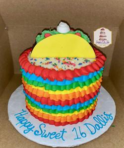 taco 16th birthday cake