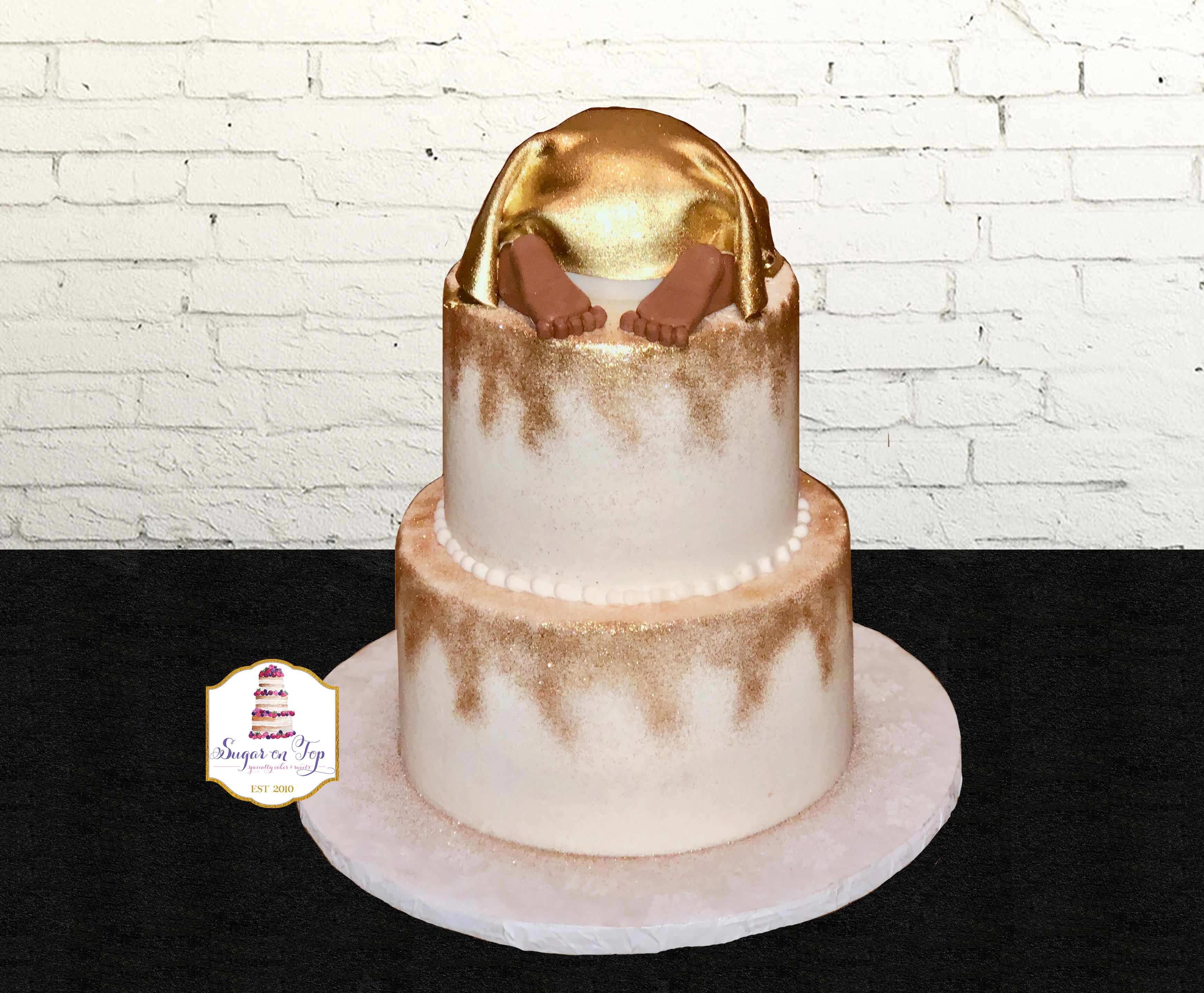 gold glitter baby butt cake