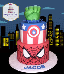superhero cake with skyline