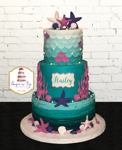 haileys mermaid cake 3 tier