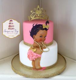 baby pink gold cake