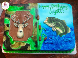 hunting fishing sheet cake