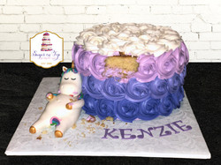 purple chubby unicorn cake