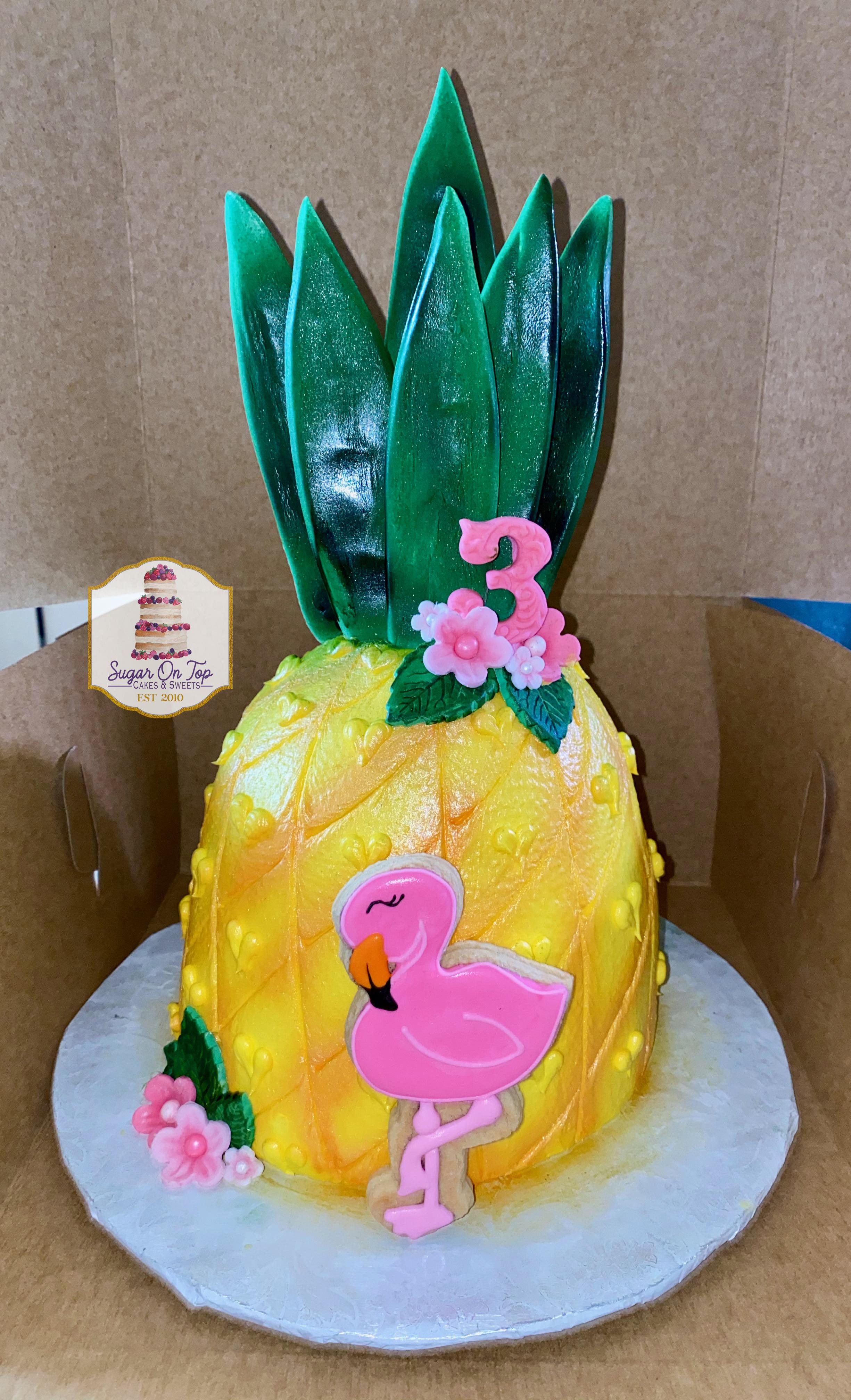pineapple flamingo cake