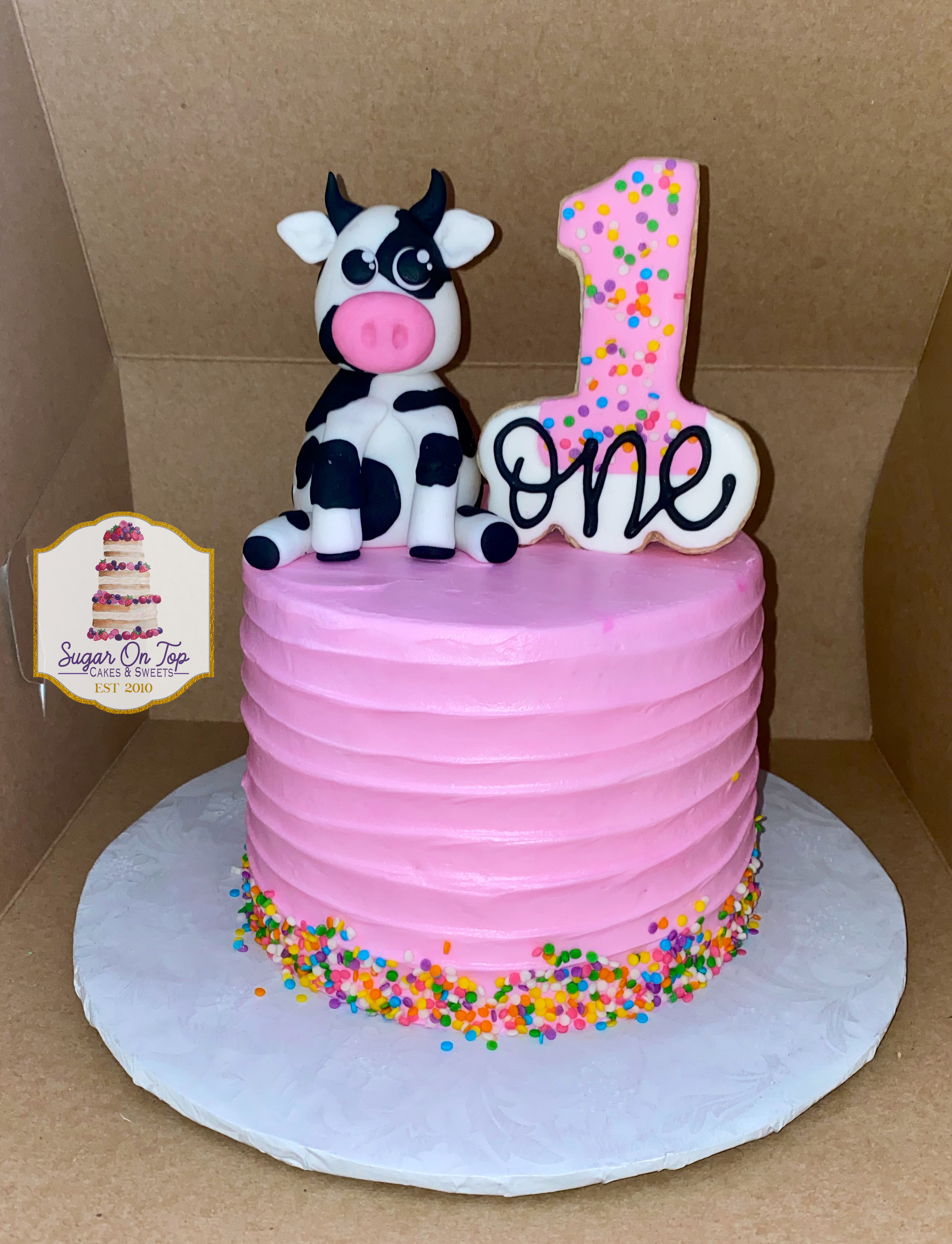 cow first birthday cake