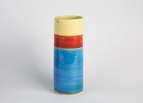 Grosse zylindrische Vase dreifarbig