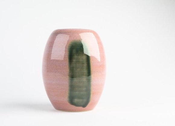 Vase rosa mit grünem Streifen