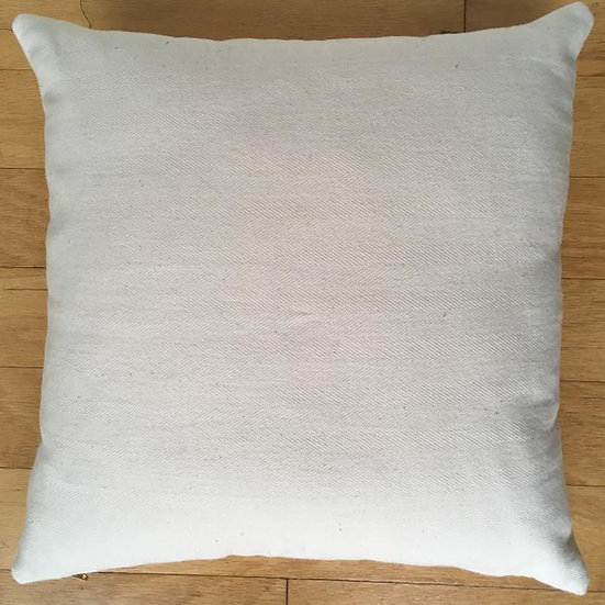 "15""x15"" Organic Colorgrown Cotton Pillow Cover with zipper, Natural Herringbone"