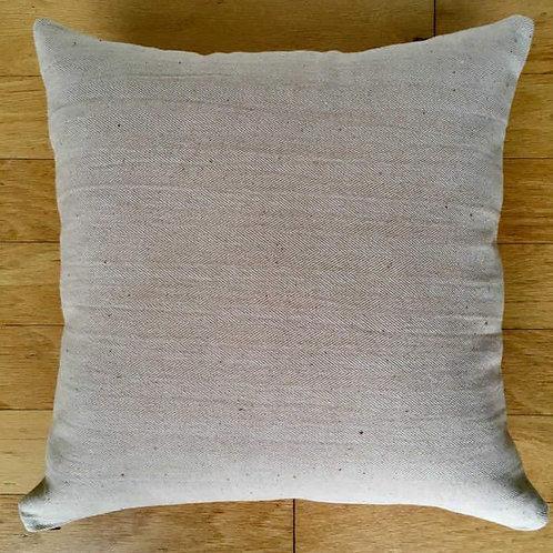 "17""x17"" Organic Colorgrown Cotton Pillow Cover with zipper, Tan Herringbone"