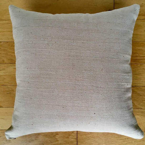 "17""x17"" Organic Colorgrown Cotton Pillow Cover with zipper, Tan Herringbone"