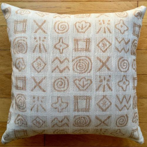 "16""x16"" Organic Colorgrown Cotton Pillow Cover with zipper, Hieroglyphics"